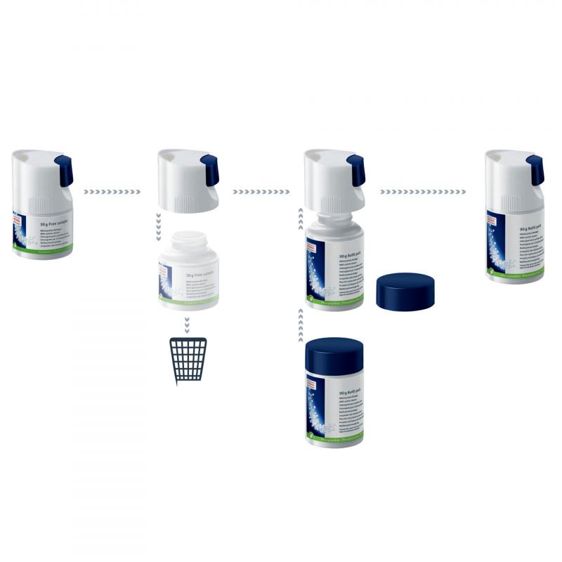 Мини-таблетки для очистки молочной системы, сменный контейнер 90 г